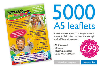 5000 Full Colour Single Sided A5 Leaflets